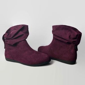 Women's SO Slouch Ankle Boots Wine 10